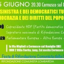 Sabato 25 giugno alla Festa lombarda di Rifondazione Figen Yüksekdağ, copresidente dell'HDP, con Paolo Ferrero ed Eleonora Forenza