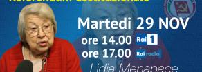 Domani, martedì 29 novembre, Lidia Menapace su Rai Uno per Rifondazione a sostenere le ragioni del NO