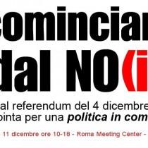 Ricominciamo dal NO(i) per una politica in comune – domenica 11 dicembre a Roma