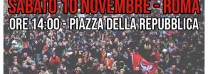 10 NOVEMBRE, MANIFESTAZIONE NAZIONALE A ROMA