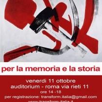 Per il rispetto della memoria e della storia. 11 ottobre iniziativa pubblica a Roma