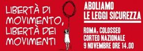 """A Roma in piazza il 9 novembre, contro le leggi """"sicurezza"""" per l'eguaglianza sociale"""