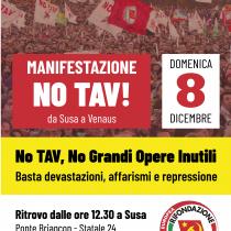 Contro il Tav e la criminalizzazione della protesta la lotta continua. Il Prc sarà alla marcia dell'8 dicembre in Valsusa