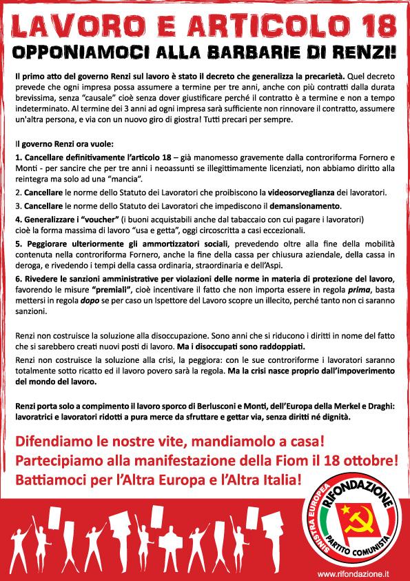 Lavoro e articolo 18: opponiamoci alla barbarie di Renzi! Volantino PRC