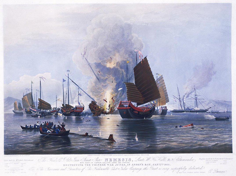 destroying-chinese-war-junks-by-e-duncan-1843