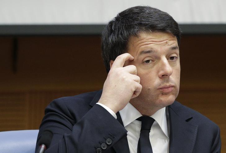 Il presidente del Consiglio Matteo Renzi durante la conferenza stampa di fine anno