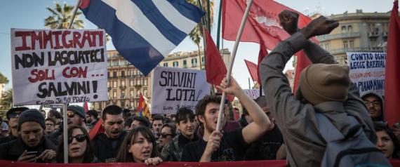 Manifestazione dei centri sociali contro la visita di Salvini