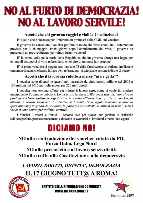 No al furto della democrazia ed al lavoro servile!